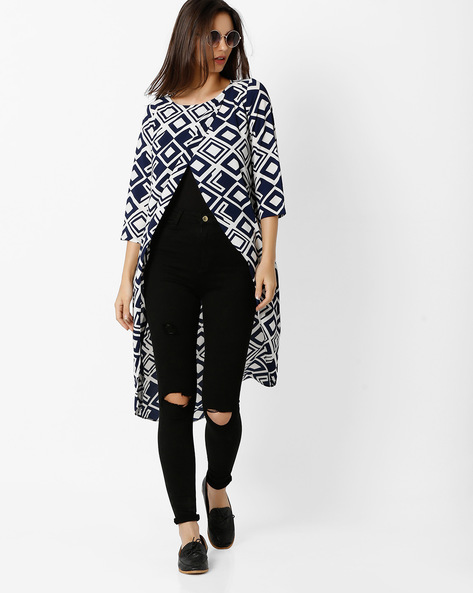 Printed High-Low Top By And ( Assorted )