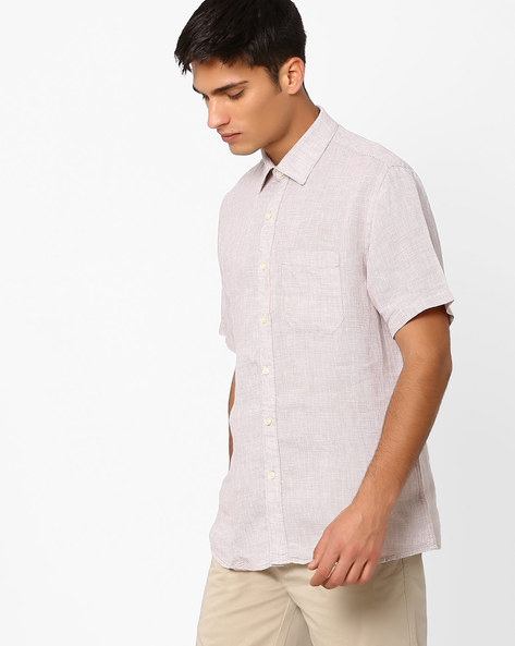 Linen Shirt With Patch Pocket By NETWORK ( Beige )