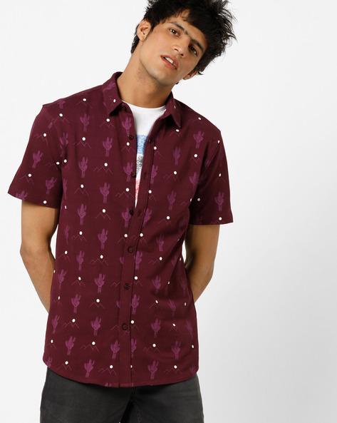 Cactus Print Pique Knit Shirt With Spread Collar By AJIO ( Purple )