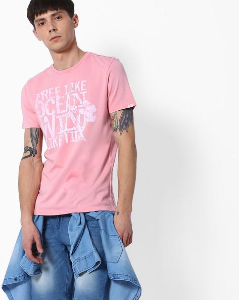 Slim Fit Crew-Neck T-shirt By SPYKAR ( Pink )