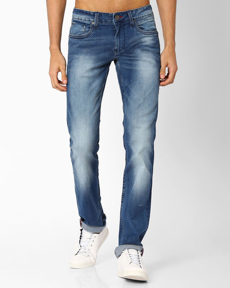 Torque Fit Lightly Washed Stretch Jeans By BASICS ( Blue )