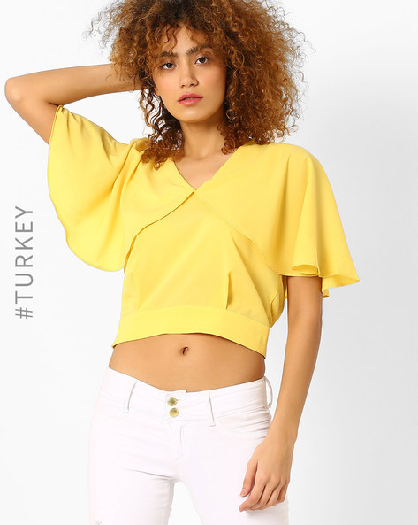 Crop Top With Cape Overlay By BATIK ( Yellow )