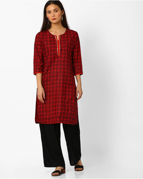 Printed Straight Kurta With Sequin By Rangmanch By Pantaloons ( Red )