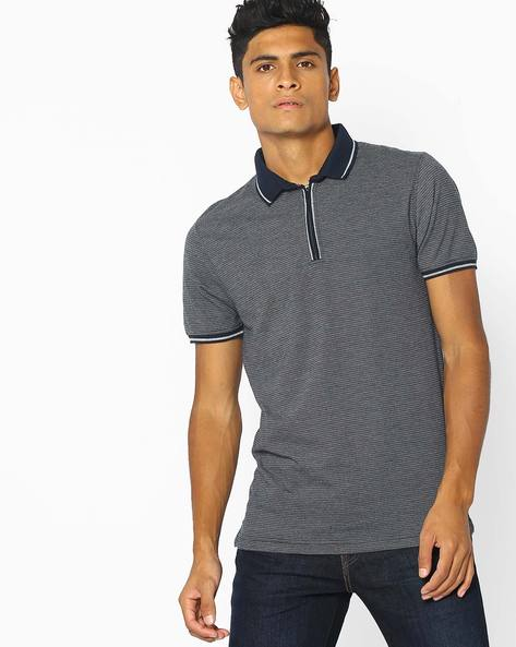 Textured Polo T-shirt With Zip Placket By NETPLAY ( Navy )