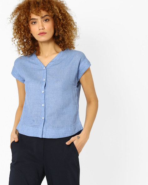 Textured Shirt With Curved Hem By Vero Moda ( Blue )