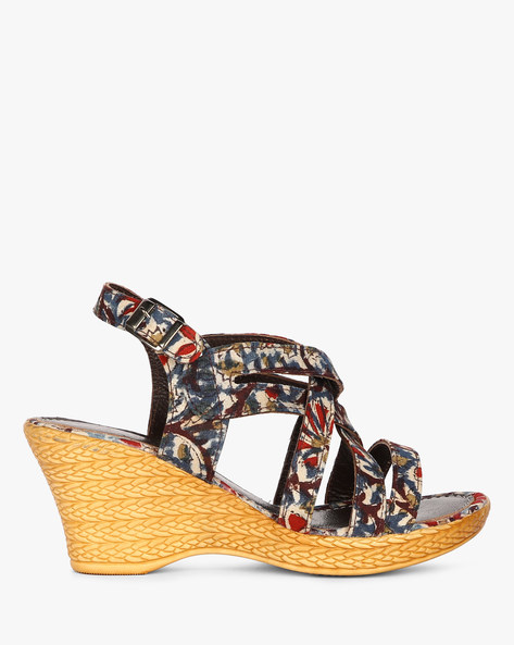 Kalamkari Print Genuine Leather Wedges By EKTA ( Blue )