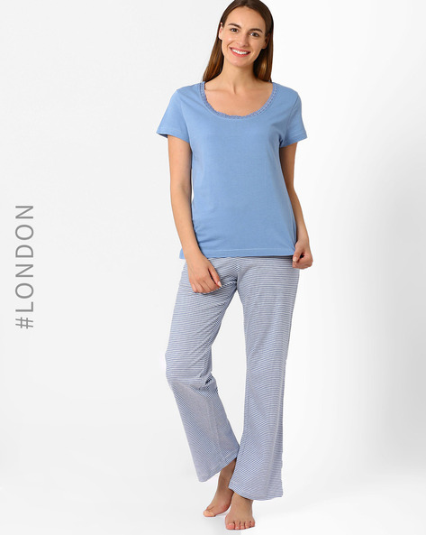 Pure Cotton Lounge Set By Marks & Spencer ( Blue )