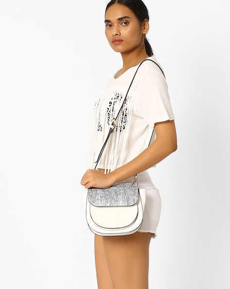 Sling Bag With Textured Flap By AJIO ( White )