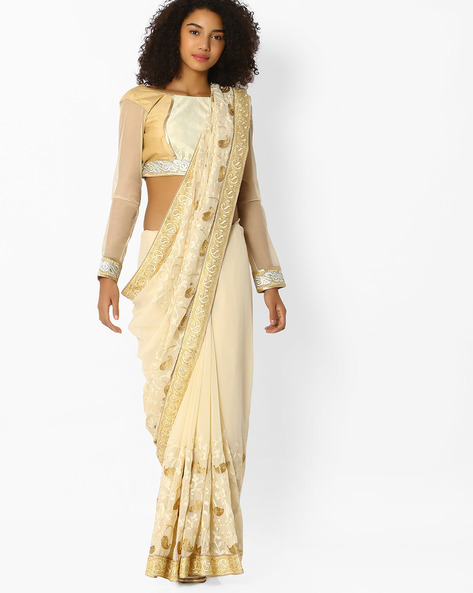 Embroidered Saree With Blouse Piece By Amori ( White )