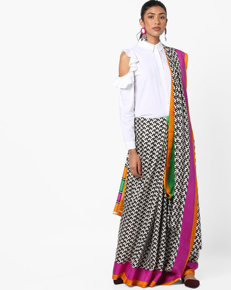 Geometric Print Saree With Contrast Border By Florence ( Multi )