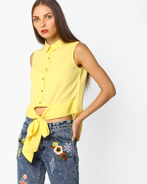 High-Low Top With Tie-Up By AJIO ( Yellow )