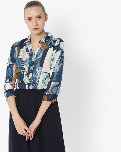 Printed Shirt With Spread Collar By Deal Jeans ( Navyblue )