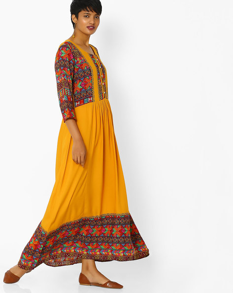 Pleated A-line Dress With Printed Panels By Shree ( Mustard )