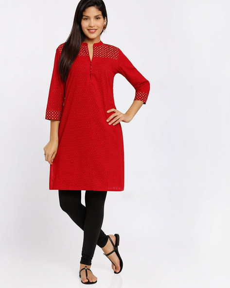 Cotton Kurta With Mandarin Collar By Rangmanch By Pantaloons ( Red )