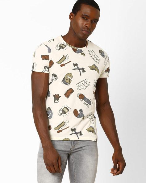Lumberjack Print T-shirt By AJIO ( Offwhite )