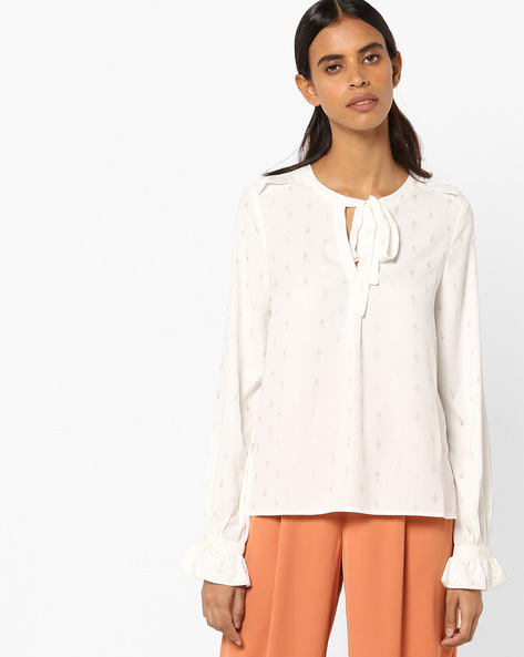 Full Sleeve Top With Tie-Up By Vero Moda ( Whiteswan )