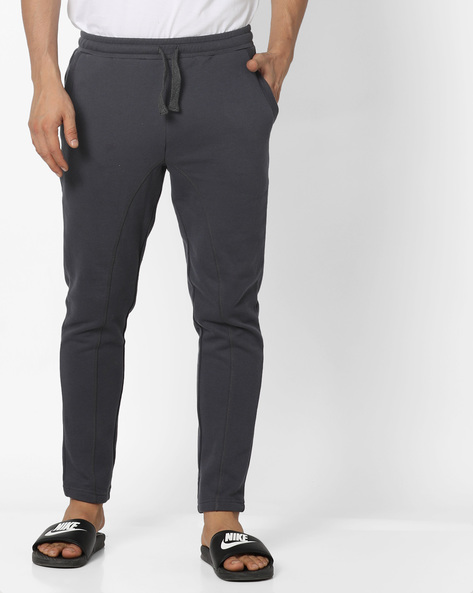 Pure Cotton Track Pants With Drawstring Waist By UNITED COLORS OF BENETTON ( Grey )