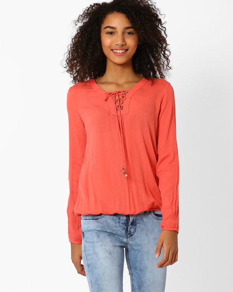 Lace-Up Top With Crochet Yoke By Only ( Rose )