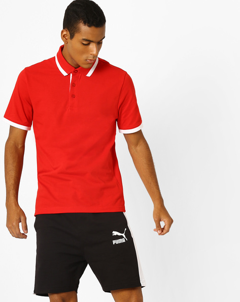 Pique Knit Polo T-shirt With Contrast Tipping By Puma ( Red )
