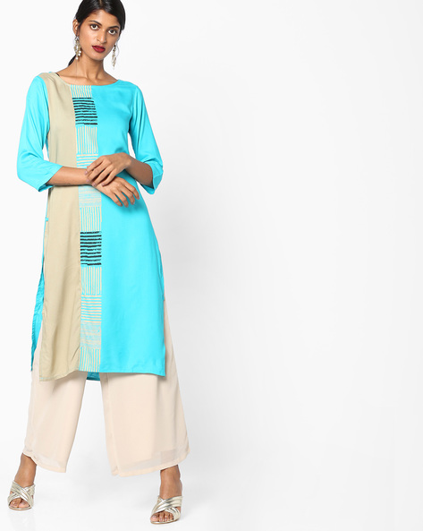 Printed Round-Neck Straight Kurta By AVAASA WORKWEAR ( Turquoise )