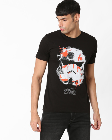 Star Wars Print Crew-Neck T-shirt By Free Authority ( Clearblack )