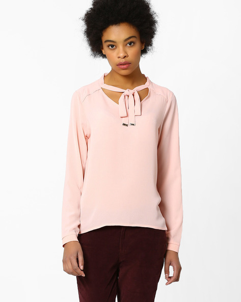 Tie-Collar Top With Raglan Sleeves By FIG ( Pink )