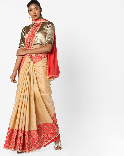 Floral Printed Saree With Contrast Border By Era ( Red )