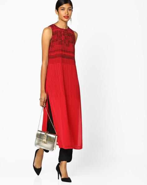 Printed Sleeveless Kurta By AJIO ( Red )