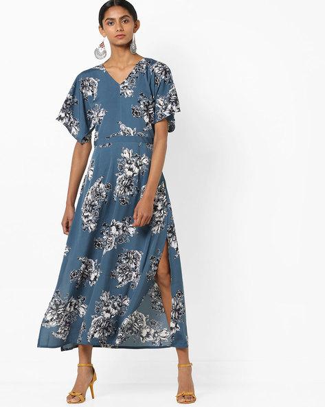 Printed Midi Dress With Slit By AJIO ( Navy )