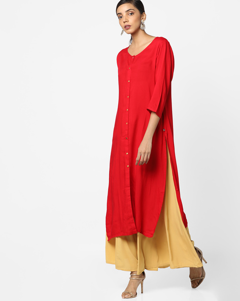 Straight Kurta With Front-Slit Hem By AVAASA MIX N' MATCH ( Red )