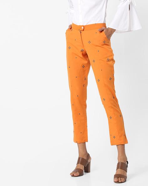 Printed Cigarette Pants By AJIO ( Orange )