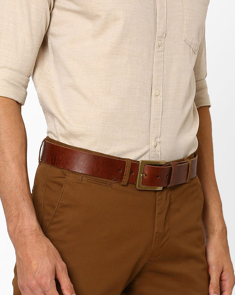 Oil Pull-Up Leather Belt By WRANGLER ( Tan )