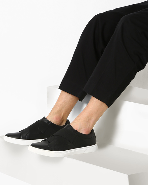 Faux-Leather Slip-On Sneakers By AJIO ( Black )