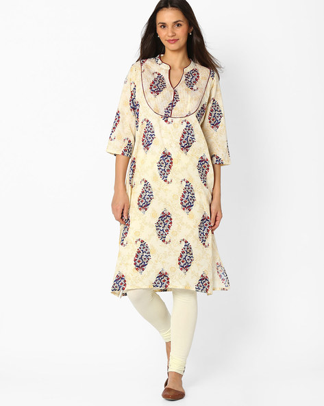 Printed Straight Kurta By Jiyaa ( Beige )
