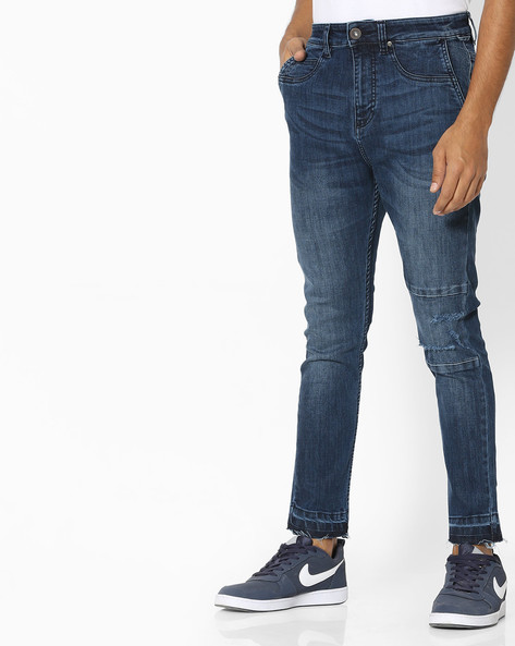 Mid-Rise Jeans With Knee Panel By Blue Saint ( Blue )