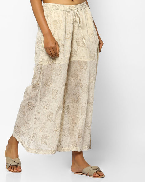 Mid-Rise Floral Print Palazzos By PE IW Evening ( Beige )