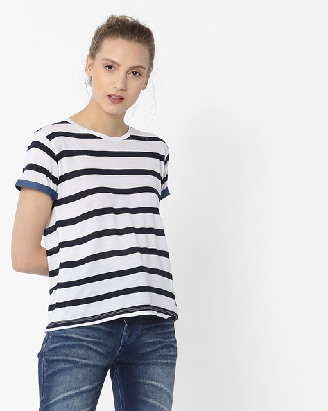 Striped T-shirt With Denim Patch By Lee ( White )