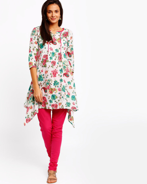 Floral Print Kurta With Dipped Hemline By AJIO ( White )