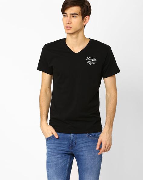 V-neck Slim Fit T-shirt By WRANGLER ( Black )