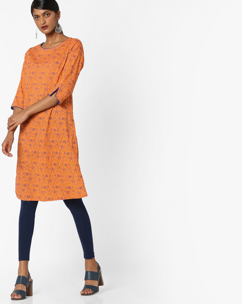 Floral Print Tunic With Vented Hems By AJIO ( Orange )