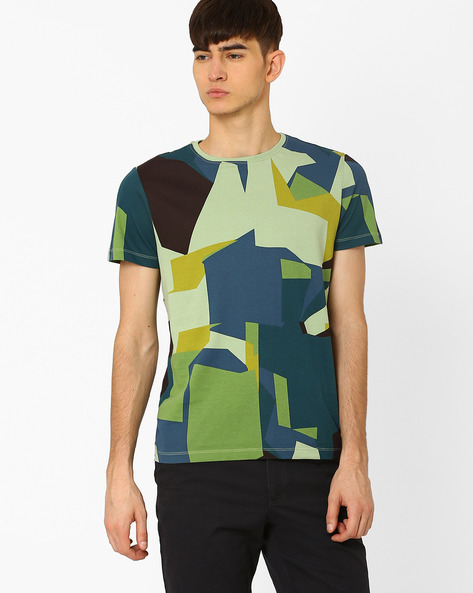 Abstract Camouflage Print T-shirt By AJIO ( Green )