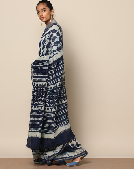 Handblock Indigo Print Chanderi Saree With Zari By Indie Picks ( Indigo ) - 460146828001