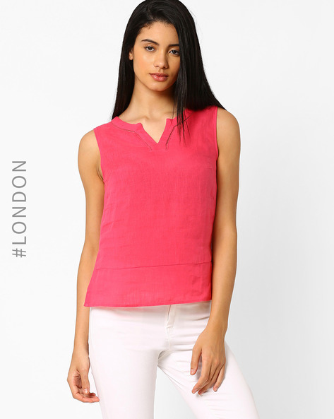 Sleeveless Linen Top By Marks & Spencer ( Pink )