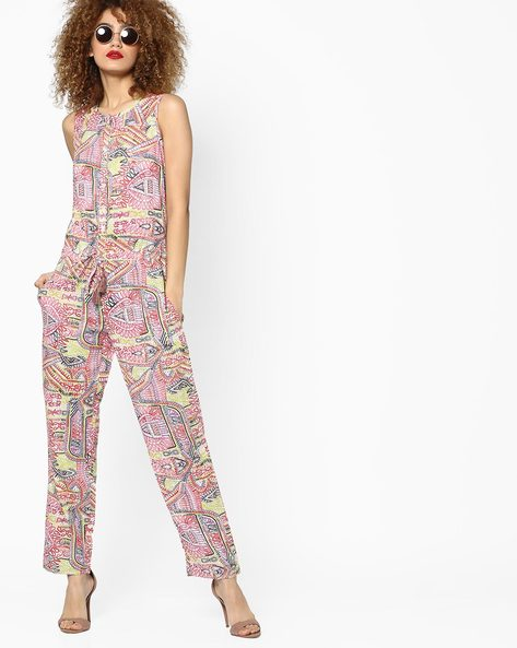 Printed Sleeveless Jumpsuit By Jiyaa ( Multi )