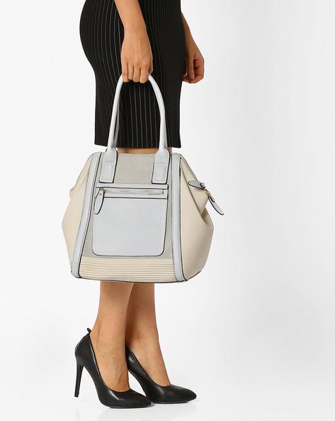 Textured Handbag With Rolled Handles By AJIO ( Beige )