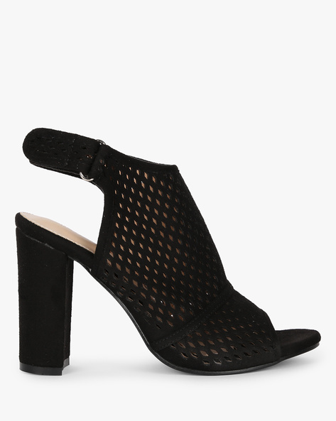 Laser-Cut Slingback Chunky-Heeled Sandals By MFT Couture ( Black )