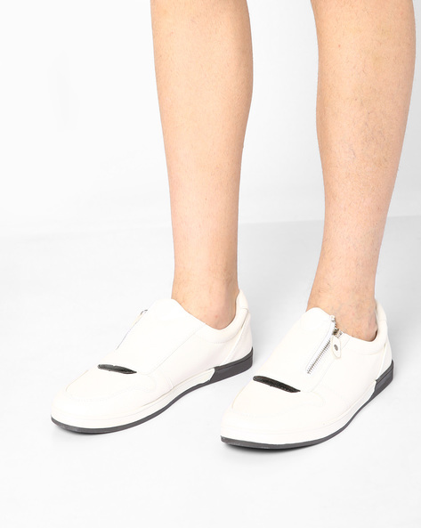 Textured Slip-Ons With Zipper By Nuboy ( White )