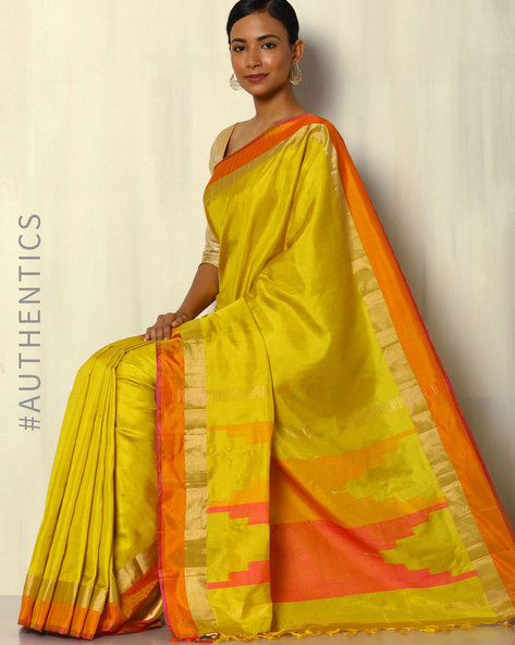 Handloom Arani Striped Pure Silk Saree By Pretty Woman ( Yellow )