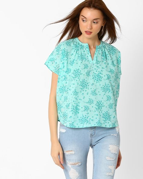 Floral Print Boxy Top With Embroidery By AJIO ( Teal )