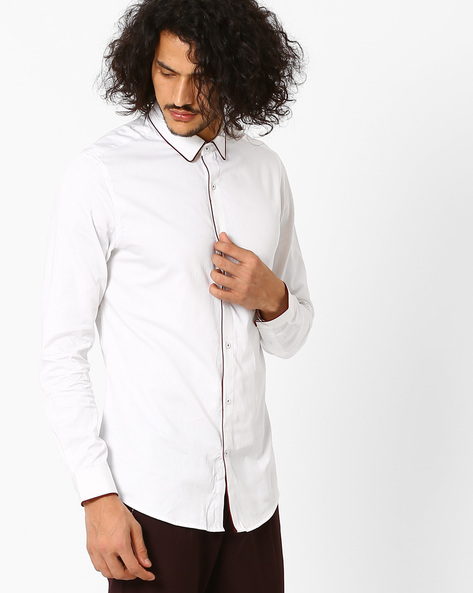 Structured Fit Cotton Shirt With Contrast Piping By MR.BUTTON ( White )